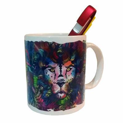 Leo Brindes Personalizados - Caneca de cerâmica Personalizada 350ml branca com borda e cabo colorido.  Altura :  9,6 cm  Largura :  11, 7 cm  Circunferência :  26,2 cm  Medidas ap...