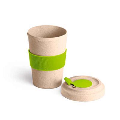 Qmais Promo - Copo para viagem.  Fibra de bambu e PP.  Com banda de silicone e tampa.  Capacidade até 500 ml. Food grade. Tamanho ø95 x 140 mm