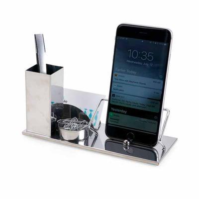 Qmais Promo - Kit escritório 4 em 1. Material inox espelhado, suporte para cartões, canetas, clips e celular.  Tamanho  (CxL):  9,7 cm – base 20,1 cm x 8,1 cm  Peso...
