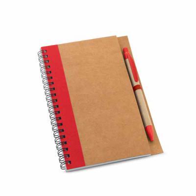 Mathias Promocionais - Caderno. Papel kraft. Capa dura. Com 60 folhas não pautadas de papel reciclado. Incluso esferográfica. 130 x 177 mm