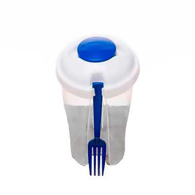 Mathias Promocionais - Copo de salada 850ml com garfo e compartimento para molho. Copo plástico transparente com três detalhes ovais na lateral e tampa branca, no centro da...