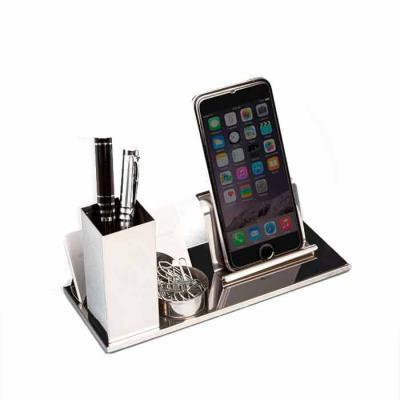 Mathias Promocionais - Kit escritório 4 em 1 em inox espelhado. Possui suporte para canetas, cartões, clips e celular.  Medidas aproximadas para gravação (CxL):  2 cm x 8 cm...
