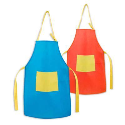 Mathias Promocionais - Avental para criança. Non-woven: 80 g/m². Ajustável. Com 1 bolso. 400 x 600 mm | Bolso: 200 x 150 mm