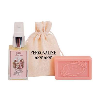De La Merche - Kit de mini sabonete líquido (30 ml) e mini sabonete barra (20 g) da De La Merche acompanhado de sacolinha de algodão 100% cru com estampa personaliza...