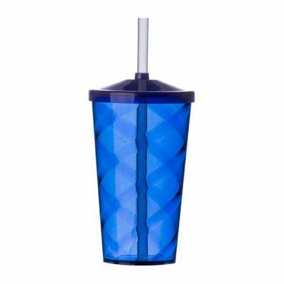 EV Brindes - Copo de acrílico 550ml com canudo. Copo colorido com detalhe espiral e canudo plástico biodegradável.  Medidas aproximadas para gravação (CxL):  12 cm...