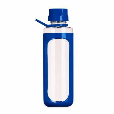 EV Brindes - Squeeze plástico 650ml transparente com detalhes coloridos. Tampa colorida rosqueável com relevo, possui alça e uma espécie de capa(não é removível) p...
