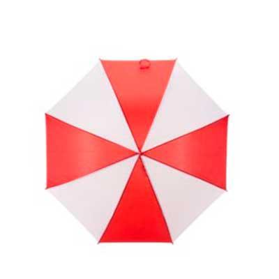 EV Brindes - Guarda-chuva colorido com detalhes branco e tecido de nylon, basta acionar o botão inferior para abertura automática.  Possui 8 varetas pretas de aço,...