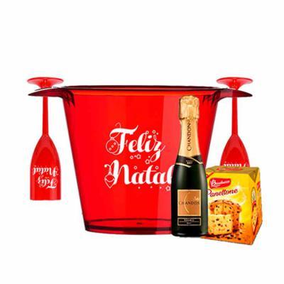 ArtPromo - Kit Personalizado Natal contendo:  2 taças 1 balde de gelo 1 champanhe mini 1 panetone mini