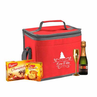 ArtPromo - Kit Personalizado Natal contendo:  1 bolsa térmica 1 taça 1 champanhe mini 1 panetone 80 grs 1 bolacha champanhe
