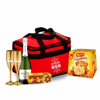 ArtPromo - Kit Personalizado Natal contendo:  2 taças 1 bolsa térmica 9 litros 1 panetone 500 grs 1 champanhe salton 1 pão de mel