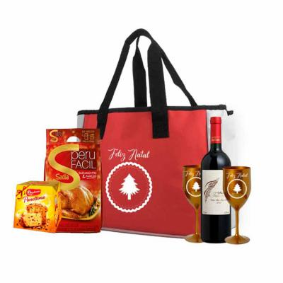 ArtPromo - Kit Personalizado Natal contendo:  1 sacola 2 taças 1 vinho salton 1 panetone 80 grs