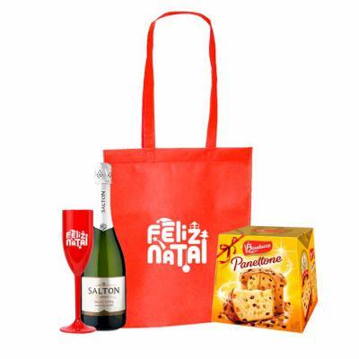 ArtPromo - Kit Personalizado Natal contendo:  1 sacola 1 taça 1 champanhe salton 1 panetone 500 grs