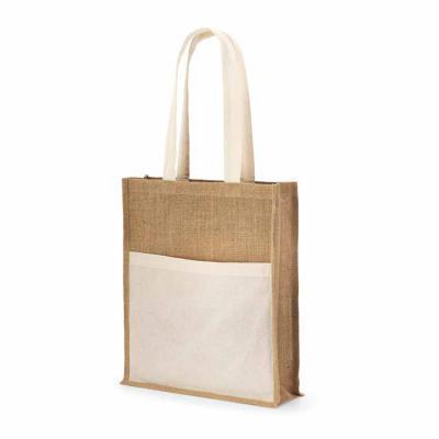 ArtPromo - Sacola. Juta: 240 g/m². Bolso frontal 100% algodão: 140 g/m². Alças de 65 cm. 370 x 410 x 100 mm | Bolso: 370 x 270 mm