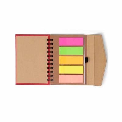 Personalite Brindes - Bloco de anotações ecológico com autoadesivos e suporte para caneta. Bloco de capa colorida com abertura lateral imantada, primeira folha com cinco bl...