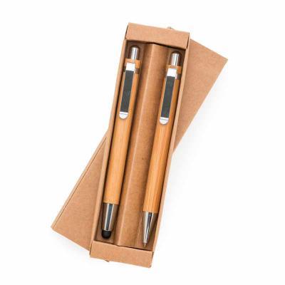 Personalite Brindes - Kit ecológico caneta e lapiseira em bambu com estojo de papelão