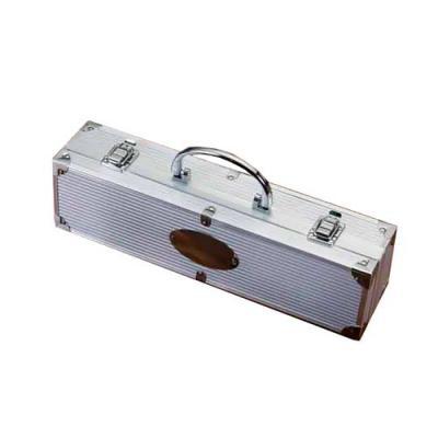 Genialle Brindes & Personalizados - Kit churrasco com 3 peças. Maleta de alumínio com relevo. Possui: faca, garfo e pegador em inox(todas peças possuem proteção plástica) detalhes em met...