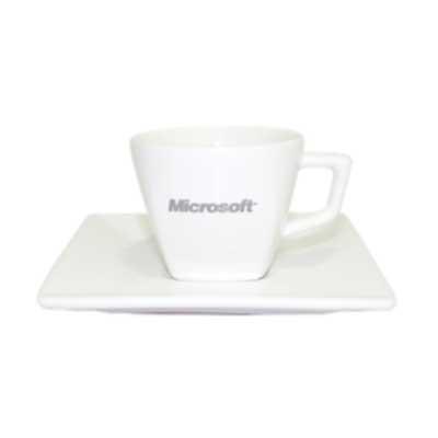 Genialle Brindes & Personalizados - Conjunto café xícara e pires design quadrado