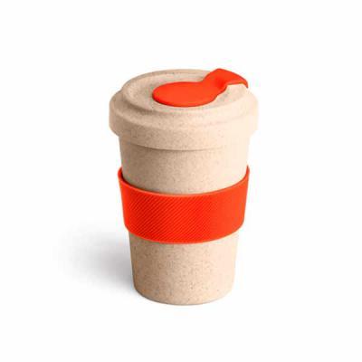 Ezzi Personalizados - Copo para viagem Personalizado. Fibra de bambu e PP. Com banda de silicone e tampa. Capacidade até 500 ml.  Medida: 95 x 140 mm - Produto Ecológico!