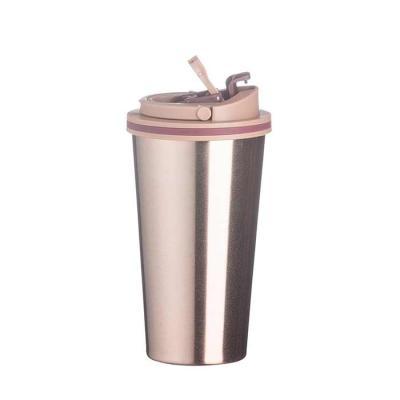 WXZ BRINDES - Copo de metal 450ml com tampa. Copo com parte inferior emborrachada antideslizante, tampa rosqueável com alça para transporte e alavanca para abertura...