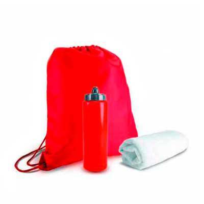 """WXZ BRINDES FABRICAÇÃO  PRÓPRIA - Kit para academia personalizado com sacola tipo mochila em nylon 210D  41x35cm, garrafa de água tipo """"Squeezie"""" com 750ml e toalha branca (poliéster e..."""