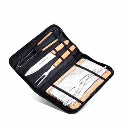 WXZ BRINDES - Kit churrasco com estojo. Contém garfo, faca, pegador, avental e tábua de madeira. Medidas: 5 cm x 36.5 cm x 22.5 cm Utilidade Do Produto: Kit com 5 p...