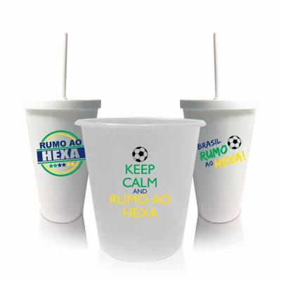 WXZ BRINDES FABRICAÇÃO  PRÓPRIA - O kit com 2 copos shakes e 1 balde de pipoca comemorativo da Copa do Mundo é perfeito para você assistir e torcer pelo Brasil enquanto come o seu peti...
