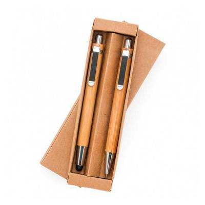 WXZ BRINDES FABRICAÇÃO  PRÓPRIA - Kit Ecológico Caneta e Lapiseira Bambu Personalizado
