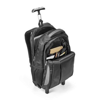 WXZ BRINDES - Mochila trolley para notebook. Nylon 999. Material à prova de água. Com 2 rodas. Compartimento principal almofadado para notebook até 17''. Segundo co...