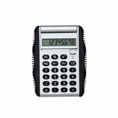 """P&J Brindes - Calculadora plástica de 8 dígitos com bordas emborrachadas em relevo. Possui compartimento flexível, basta puxar """"botão"""" para baixo que a tampa protet..."""