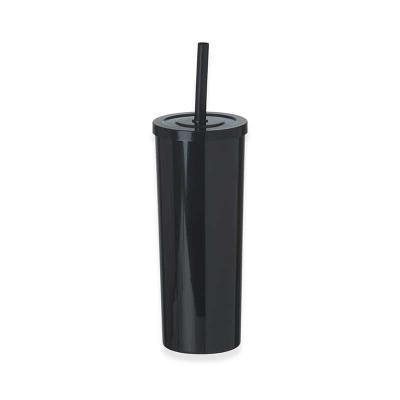 P&J Brindes - Copo long drink plástico de 380ml e canudo plástico com trava, impedindo-o de escapar da tampa enquanto está em uso.