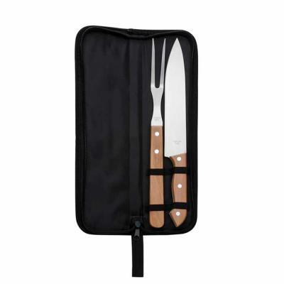 P&J Brindes - Kit churrasco 2 peças em estojo de nylon com alça. Possui: faca e garfo de madeira(na cor preto os cabos são de plástico), acompanha proteções plástic...