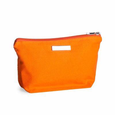 P&J Brindes - Necessaire de lona colorida com plaquinha metálica para personalização, possui zíper e forro de poliéster.