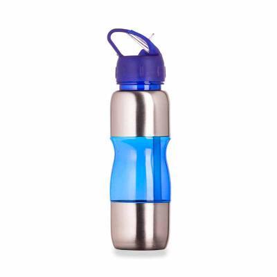 P&J Brindes - Squeeze de alumínio 600ml com alça plástica e bico de canudo. Possui detalhes plástico coloridos, tampa rosqueável com bico e canudo interno.  Medidas...