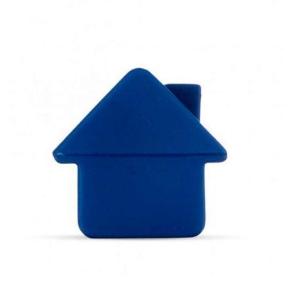 P&J Brindes - Casa anti stress emborrachada na cor azul.