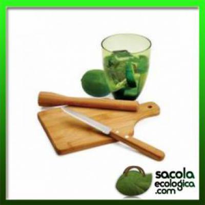 Sacola Ecológica.COM - Kit de Caipirinha em material totalmente ecológico é aqui, personalize um e o deixe exclusivo!   composto por uma faca para frutas, um pilão, um copo...