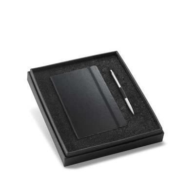 Italy Brindes - Kit de caderno e esferográfica personalizado. Cartão e alumínio. Caderno capa dura com 96 folhas não pautadas cor marfim. Em caixa almofadada. Incluso...