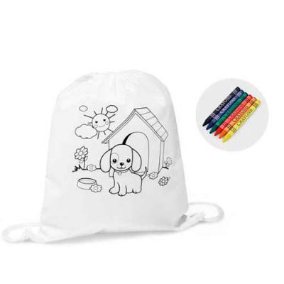 Conecta Brindes - Sacola tipo mochila para colorir