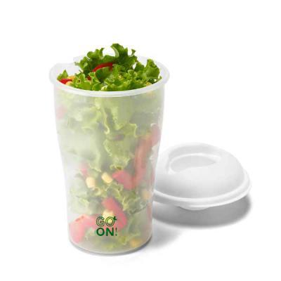 Conecta Brindes - Copo para salada. PP. Com garfo e molheira. Capacidade: 850 ml. Food grade. Caixa branca 94659 vendida opcionalmente. ø110 x 190 mm