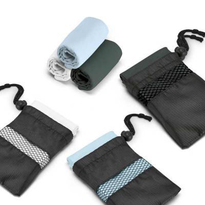 Conecta Brindes - Toalha para esporte em microfibra. Fornecida em bolsa com detalhes vazados. Brinde ideal para os amantes de academia! Personalize e divulgue sua marca...