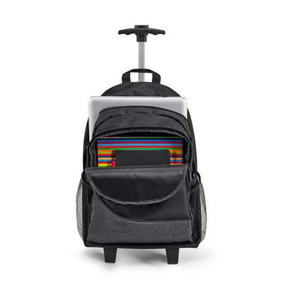 Brinde Forte - Mochila trolley para notebook. 300D. Com 2 rodas duplas. Compartimento principal forrado e almofadado, com divisória almofadada para notebook até 15.6...