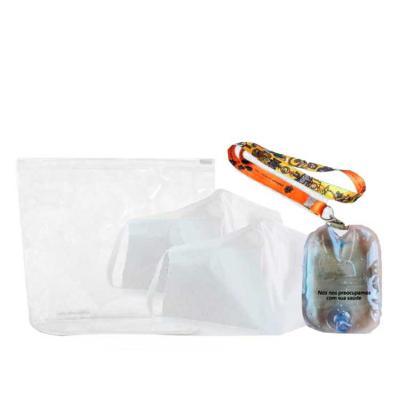 Unictech Brindes Promocionais - Necessaire pvc, 2 máscaras e suporte álcool em gel  * Não acompanha cordão
