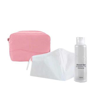 Unictech Brindes Promocionais - Necessaire Microfibra, máscara de proteção, álcool em gel 100ml
