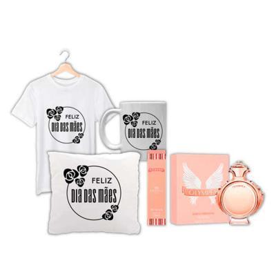 Evidencia Comunicacao - Camiseta personalizada + caneca + almofada decorativa + perfume Athena da Amakha inspirado em Olympea (floral   oriental)