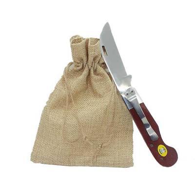 Âncora Brindes - Canivete Âncora agro com lâmina em aço inox de 8 cm livre de ferrugem, cabo em madeira trabalhada, com presilha de aço inox para uso de bolso. Comprim...