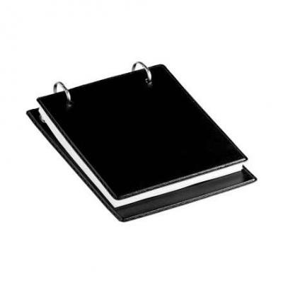 Impacta Print Brindes e Presentes - Bloco de Anotações de Mesa Preto com 2 Argolas e 150 Folhas Brancas - Formato Frente - 160mm X 130mm   Formato Verso 190mm X 136mm  Temos Couro PRETO...