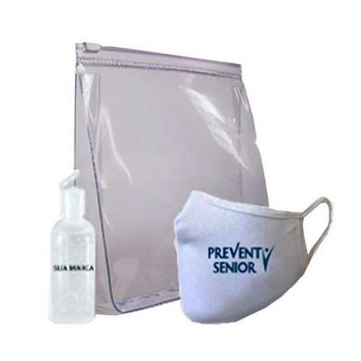 Rio4Pack Brindes - Kit personalizado COVID contendo Máscara reutilizável, necessaire de PVC e Álcool em gel 70%.  Todos os produtos com a sua marca.