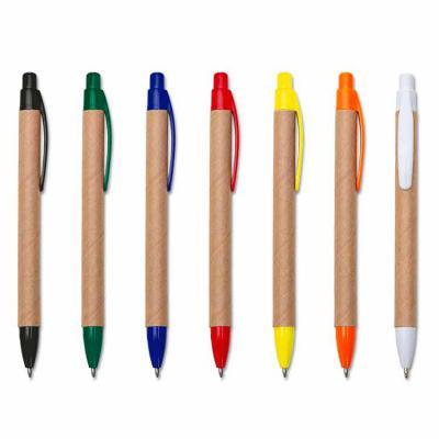 Rio4Pack Brindes - Caneta ecológica de papelão com detalhes coloridos, o clip pode facilmente ser retirado para personalização no corpo da caneta. Clip e ponteira plásti...