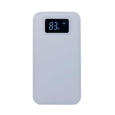 Rio4Pack Brindes - Power bank plástico com visor digital. Material plástico resistente com texturização semelhante à material sintético, possui botão lateral para ligar...