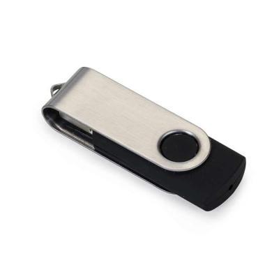 """Rio4Pack Brindes - Pen drive de metal giratório 4GB/8GB/16GB/32GB, parte interna preta em plástico resistente. Possui uma """"argola"""" na parte em metal que poderá ser utili..."""