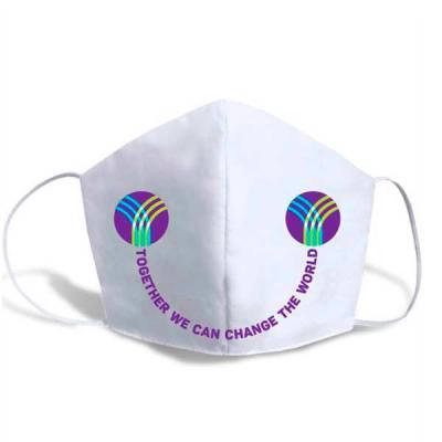 Digital Brinde - Máscara de proteção dupla confeccionada em algodão ecológico cru com elástico roliço